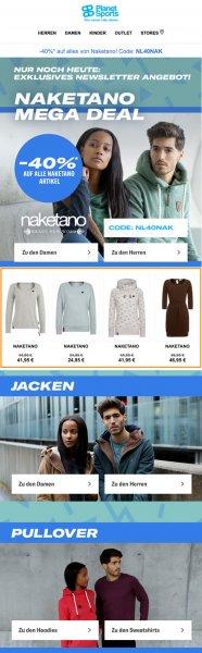 Das Bild zeigt einen themenspezifischen Newsletter von Planet Sports mit personaliserten Empfehlungen als Beispiel für Produktempfehlungen im E-Commerce.