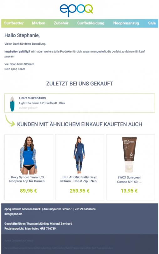 Ein Beispiel für eine Bestellbestätigungsmail, die passende Empfehlungen zu dem bestellten Produkt enthält.