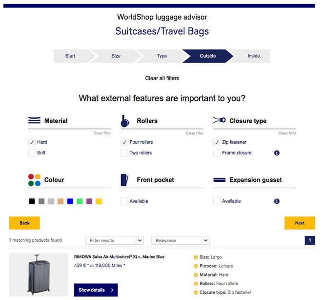 Screenshot of the luggage avisor by WorldShop, in which the guided selling system asks the customer a series of questions regarding their desired specifications for a new suitcase. The customer is asked for their desired size and type as well as various outside and inside features.