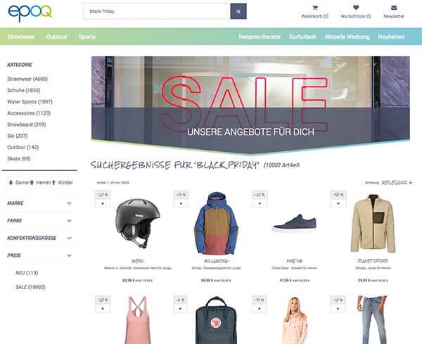 """Der Screenshot zeigt ein Beispiel für eine Suchergebnisseite zum Suchbegriff """"Black Friday"""" mit passendem Banner, um Kunden auf die Angebote aufmerksam zu machen."""