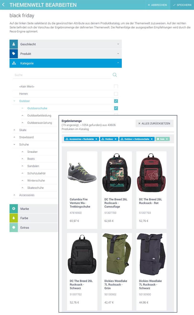 Das Bild zeigt einen Screenshot des Features Themenwelt im epoq Control Desk. Es geht um ein Beispiel für die Erstellung einer Themenwelt für eine Black-Friday-Aktion im Online Shop. Hierbei wurden die Kriterien Accessoires > Rucksäcke; Outdoor, Outdoor > Outdoorschuhe, und Sale.