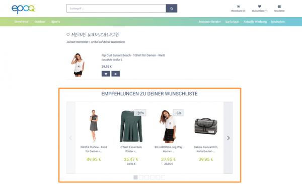 Der Screenshot zeigt einen Ausschnitt aus dem epoq Demo-Shop. Dargestellt wird der Merkzettel eines Kunden, zu dem zusätzlich passende Empfehlungen ausgespielt werden.