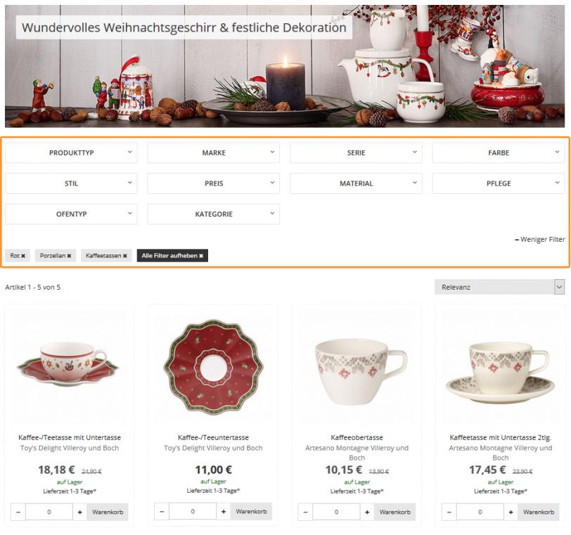 Der Screenshot zeigt die Möglichkeit, wie Kunden im Online Shop von Tableware24 die Produktauswahl über verschiedene Filter eingrenzen können. Im dargestellten Beispiel wurden die Filter Kaffeetassen, Porzellan und Rot gesetzt.