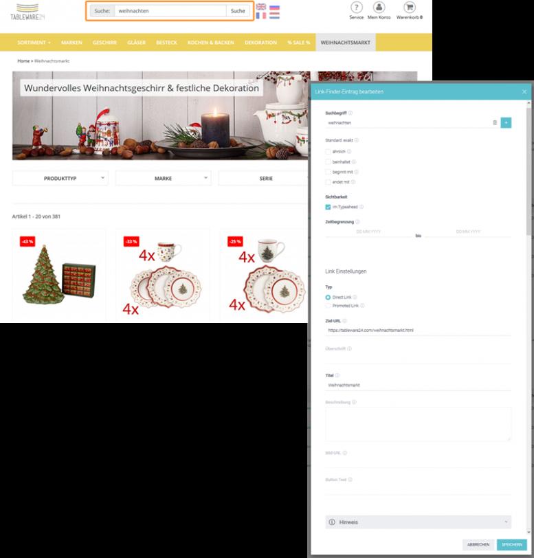 Der Screenshot zeigt den angelegten Link Finder-Eintrag im Control Desk von Tableware24.