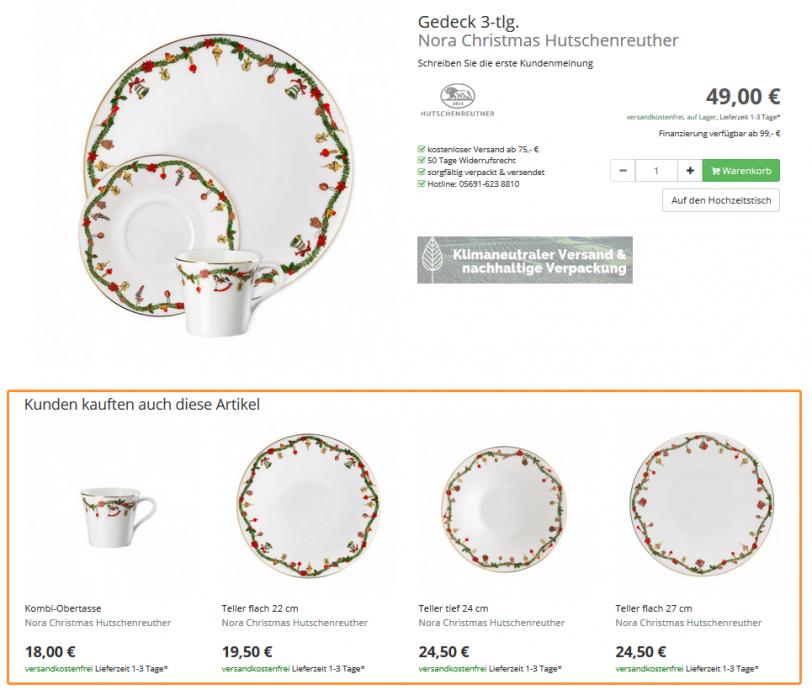 Der Screenshot zeigt eine Produktdetailseite im Online Shop von Tableware24. Hier werden zum ausgewählten Produkt passende Serienempfehlungen ausgespielt.