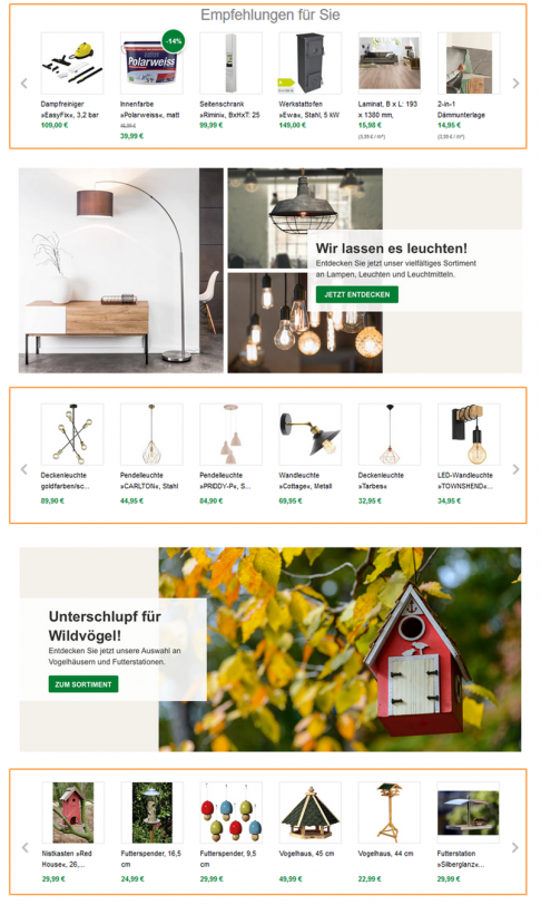 Der Screenshot zeigt einen Ausschnitt der Startseite von Hagebau. Der Online Shop gestaltet diese unter anderem mit der Platzierung von persönlichen und kategoriebezogenen Empfehlungen.