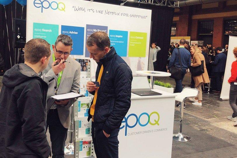 Das Bild zeigt den epoq Messestand auf der E-commerce Berlin Expo 2020.