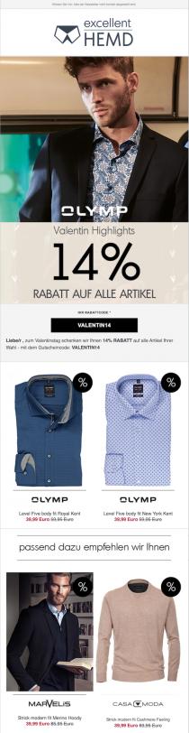 Newsletter mit personalisierten Inhalten bei excellent-hemd.de, um den E-Commerce-Traffic zu steigern