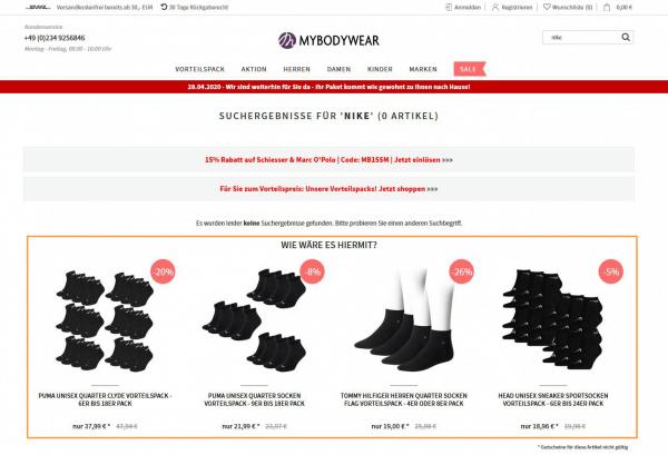 Das Bild zeigt ein Beispiel für Produktempfehlungen im E-Commerce. Gezeigt wird ein Ausschnitt aus dem Online Shop mybodywear.de. Die Suche nach 'Nike' führt den Nutzer auf eine Nulltrefferseite, auf der Empfehlungen zu alternativen Produkte ähnlicher Marken vorgeschlagen werden.