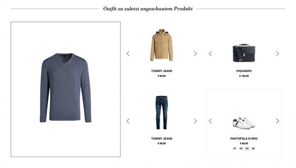 Der Screenshot zeigt ein Beispiel für Produktempfehlungen im E-Commerce. Dargestellt wird ein Produkt-Set im personalisierten Shoppingbereich bei OUTLETCITY METZINGEN.