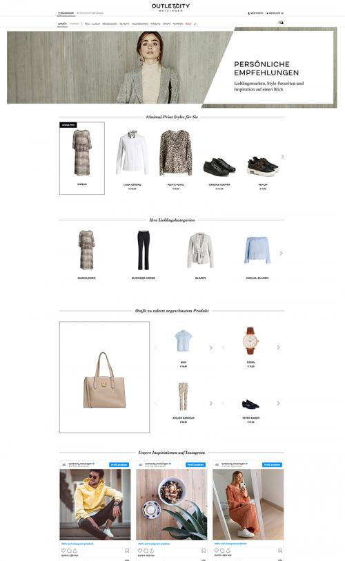 Das Bild zeigt einen Ausschnitt, wie ein persönlicher Stream im Online Shop von Outletcity Metzingen aussehen kann.