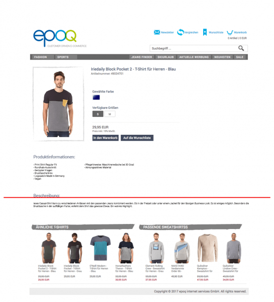 Beispiel für ausgespielte Produktempfehlungen unterhalb der Sichtlinie