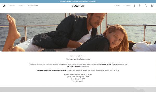 Das Bild zeigt eine Seite im Online Shop von Bogner. Hier werden alle Informationen rund um eine Rücksendung übersichtlich dargestellt. Dies ist eine Maßnahme für das Optimieren des Retourenprozesses.