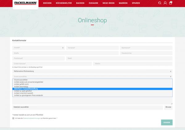 Das Bild zeigt ein Kontaktformular zur Rücksendung im Online Shop von Fackelmann. Hier können Kunden alle benötigten Infos zur Retoure auswählen, um den Retourenprozess einzuleiten.