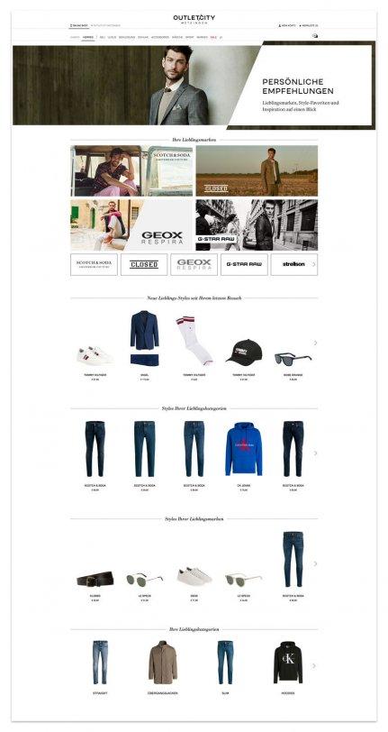 Empfehlungen in verschiedenen Empfehlungskontexten auf einer Shopseite