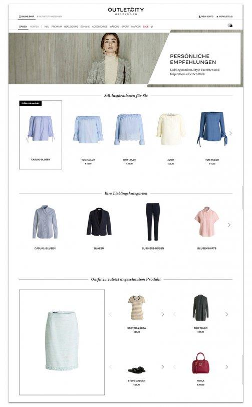 Das Bild zeigt einen Ausschnitt eines personalisierten Shoppingbereichs im Online Shop von OUTLETCITY METZINGEN. In der Phase des Kundenvertrauens sorgt ein personalisierter Shoppingbereich für Unterhaltung auf der digitalen Customer Journey.