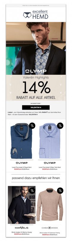 Das Bild zeigt eine E-Mail von excellent-hemd.de mit personalisierten Inhalten. In der Phase der Kundentreue kannst du dich mit personalisierten E-Mails im Rahmen der digitalen Customer Journey mit deinen Shopkunden verbinden.